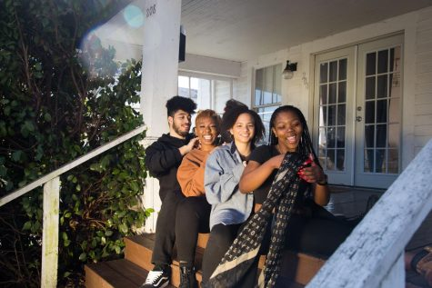 (left to right) Models Andrew Stewart, Ghermanie Allen, Melissa Morrison and Savannah Jackson bond over music and memories.